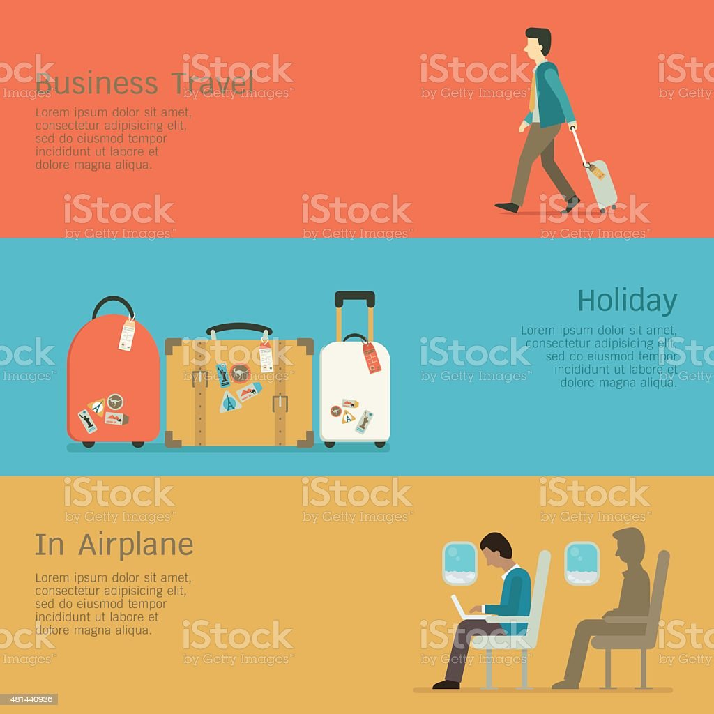 Business travel set vector art illustration