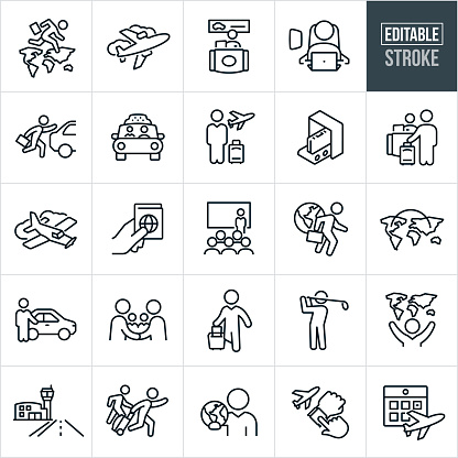 Business Travel Thin Line Icons - Editable Stroke