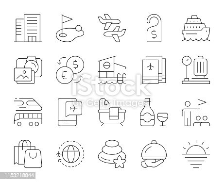 Business Travel Thin Line Icons Vector EPS File.
