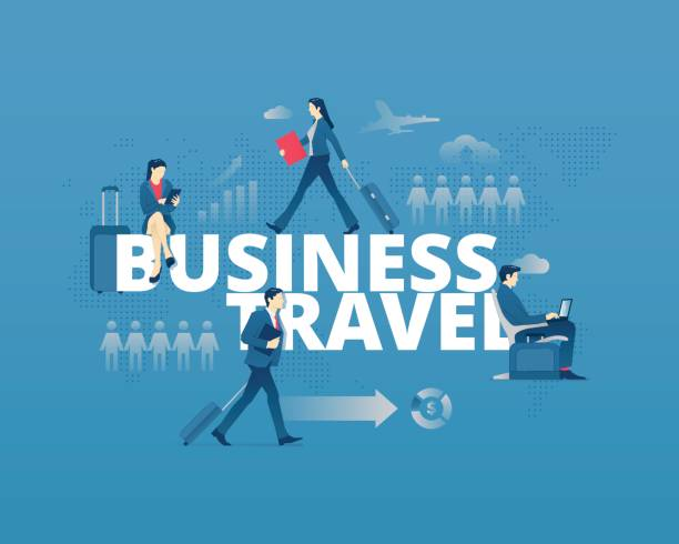 Business Travel Typographic Poster Vector Art Illustration