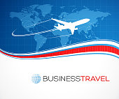Business travel background.EPS 10 file contains transparencies. File is layered, global colors used and hi res jpeg included. Map source Url: