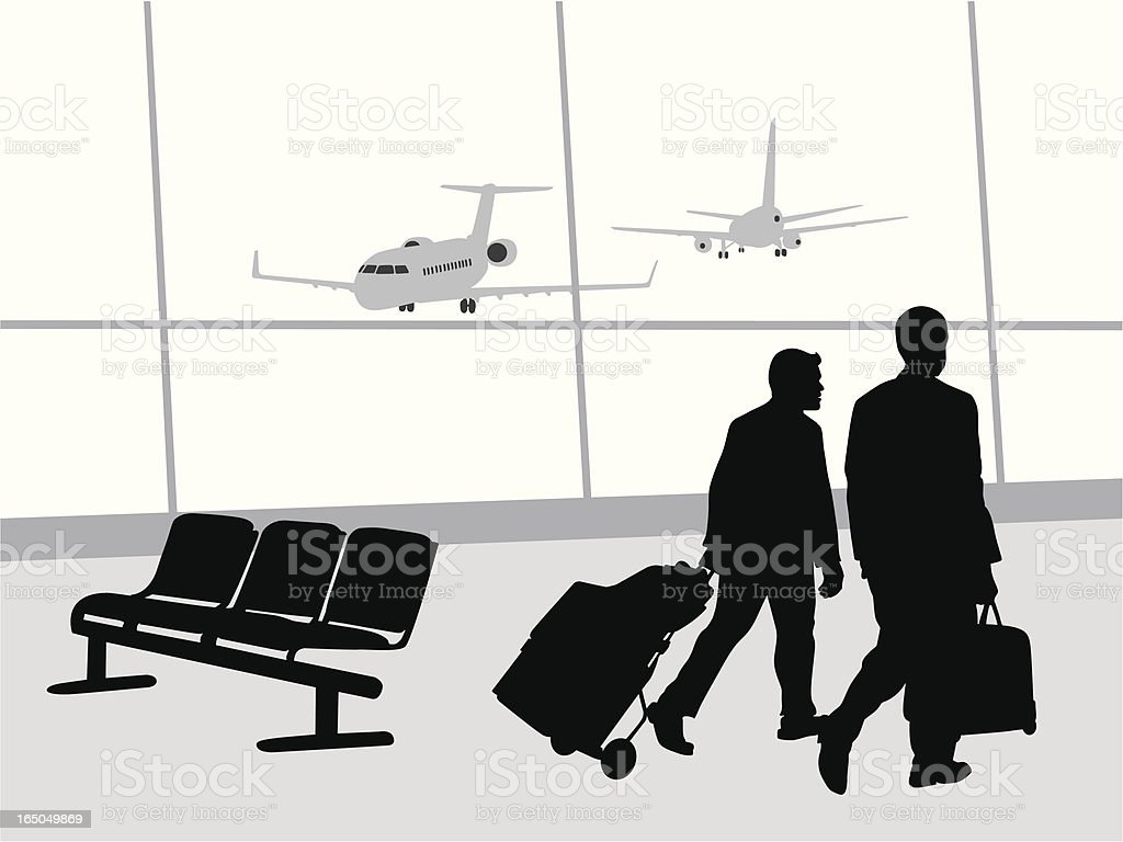 Business Travel Vector Silhouette royalty-free stock vector art