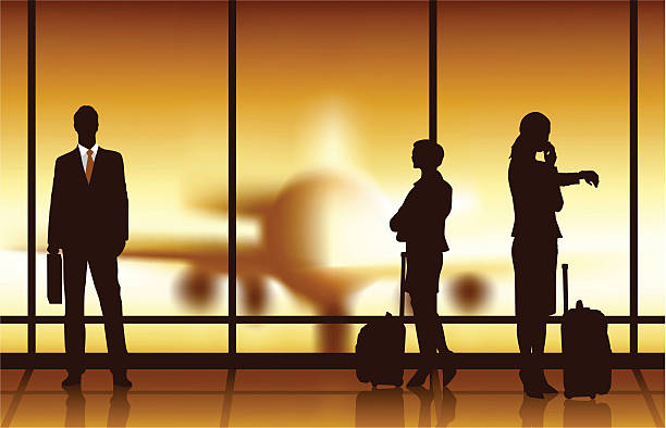 Business Travel Waiting A group of business people waiting for the flight with a blur airplane background airport silhouettes stock illustrations