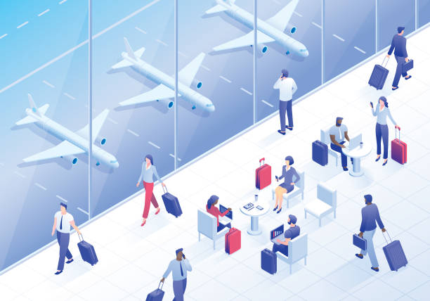 business travelers in airport lounge - airport stock illustrations