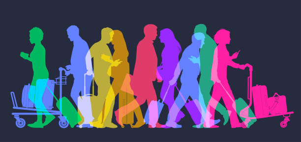 Business travellers in Airport Colourful overlapping silhouettes of business travellers. airport silhouettes stock illustrations
