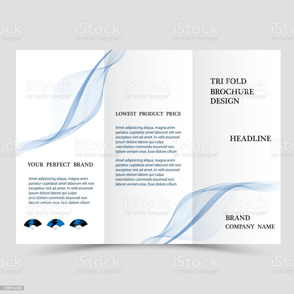 business tri fold brochure design blue corporate business template