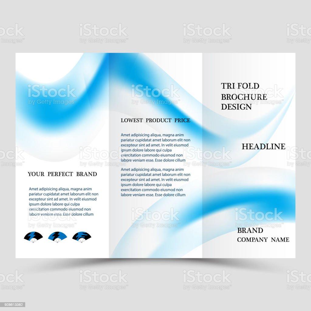 business tri fold brochure design blue corporate business template