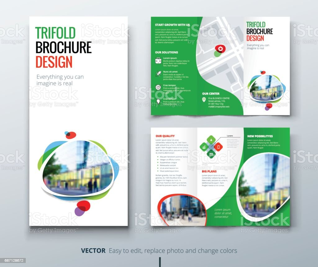 tri fold brochure template design - business tri fold brochure design green orange template