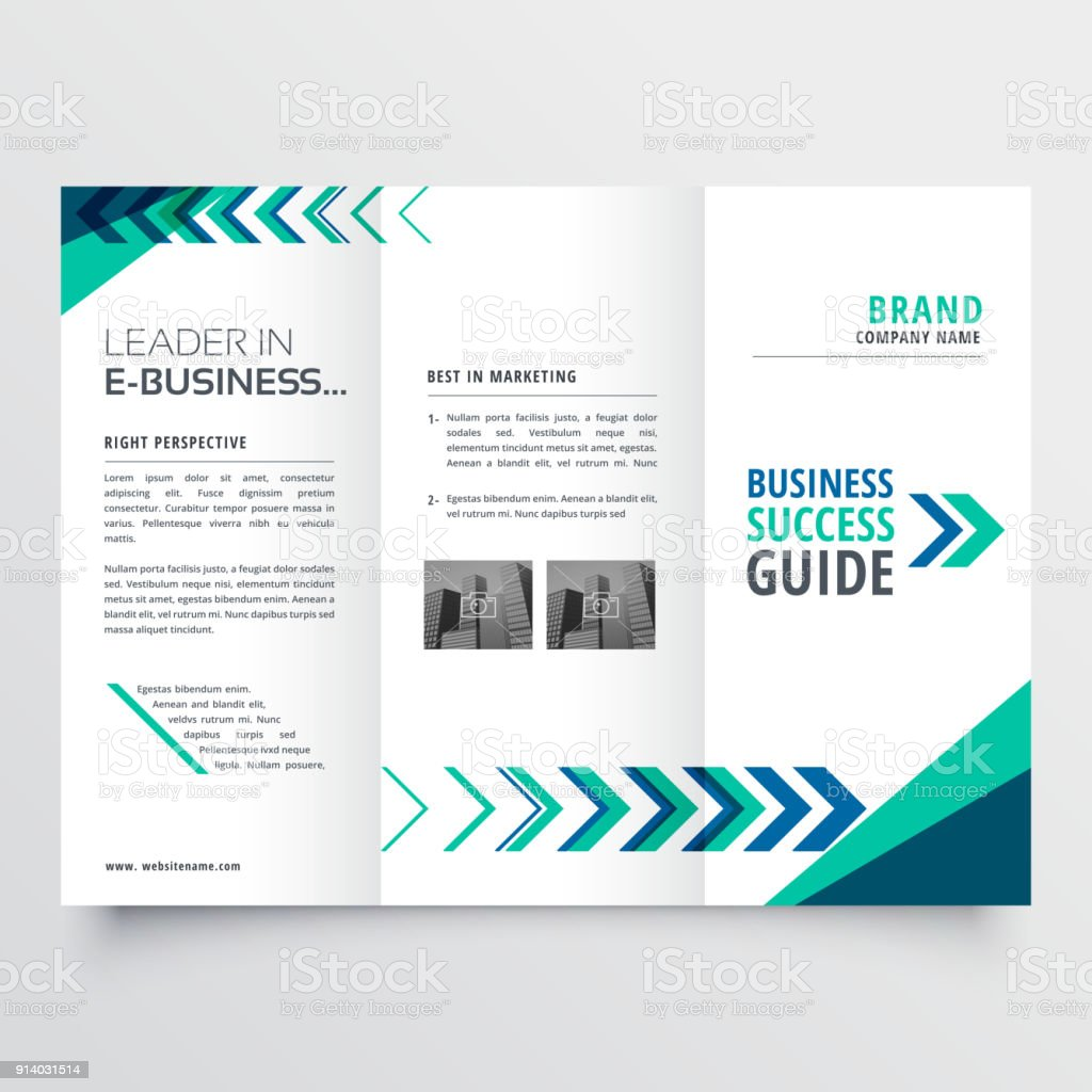 Business Tri Fold Brochure Template Design With Geometric Shapes - Tri fold brochures templates