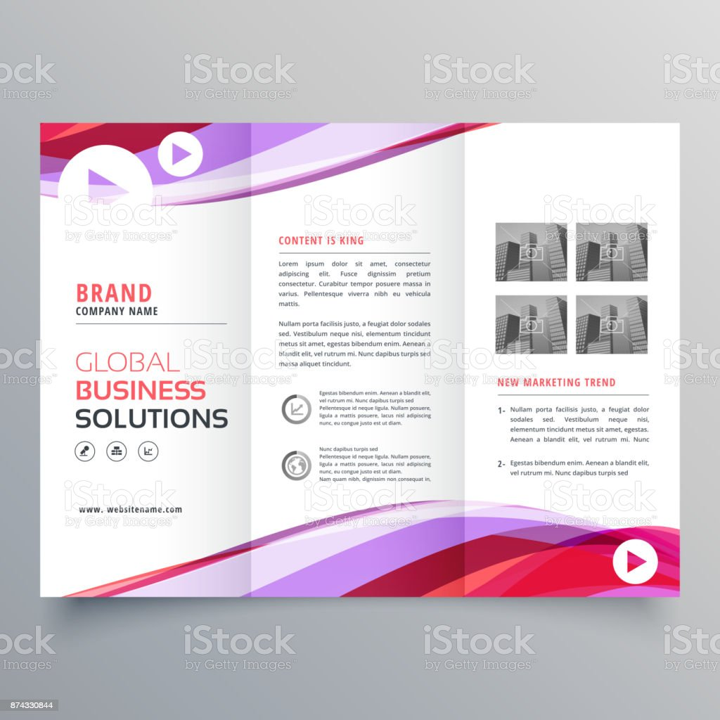 business trifold brochure design with colorful wave shape vector art illustration