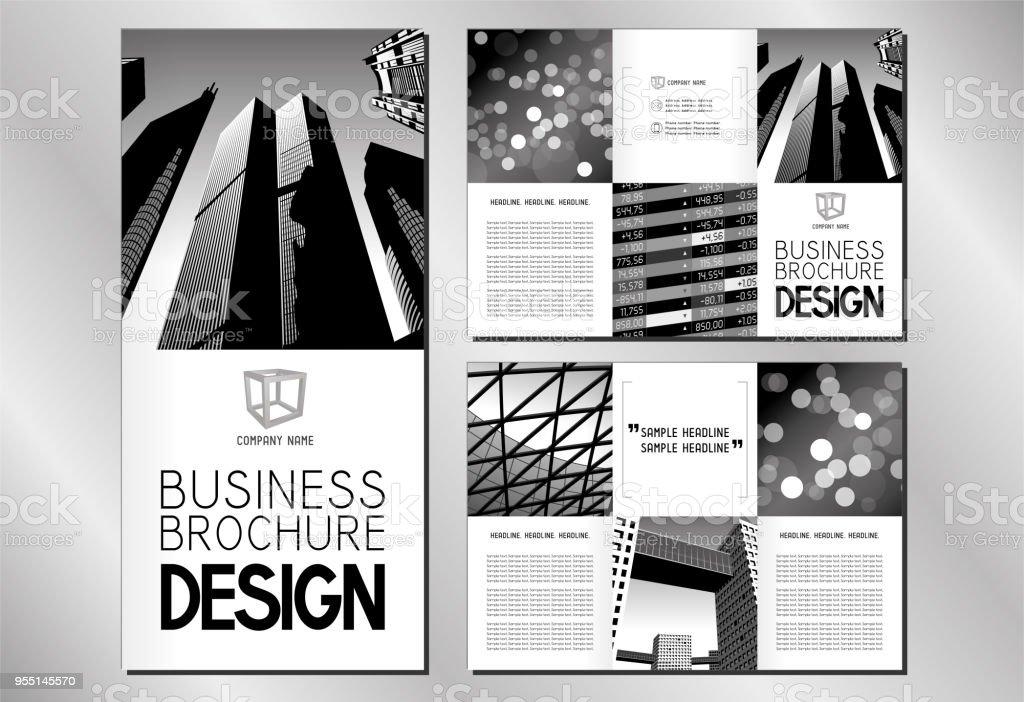 Business Trifold Brochure Flyer Template Dl Format Stock Vector Art