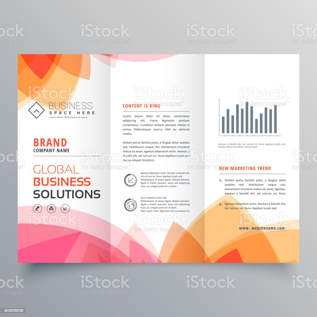 business trifold brochure template with soft pink and orange colors vector art illustration