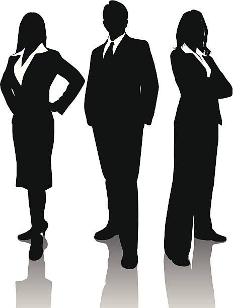 illustrazioni stock, clip art, cartoni animati e icone di tendenza di trio di business - business woman