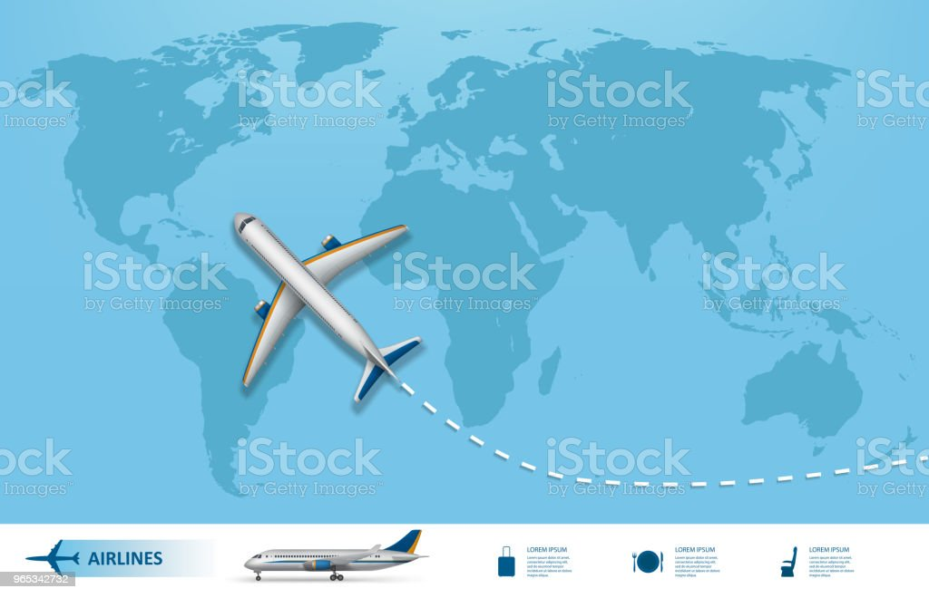 Business trip banner with Airplane and world map background. Realistic Aircraft travel concept. Flight travel world map vector illustration business trip banner with airplane and world map background realistic aircraft travel concept flight travel world map vector illustration - stockowe grafiki wektorowe i więcej obrazów abstrakcja royalty-free