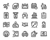Business Trip Bold Line Icons Vector EPS File.