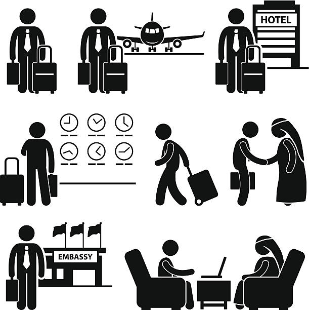 business trip businessman travel - business travel stock illustrations, clip art, cartoons, & icons
