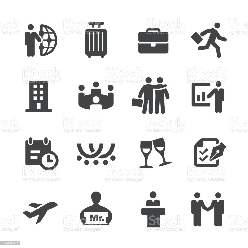 Business Trip Icons - Acme Series vector art illustration