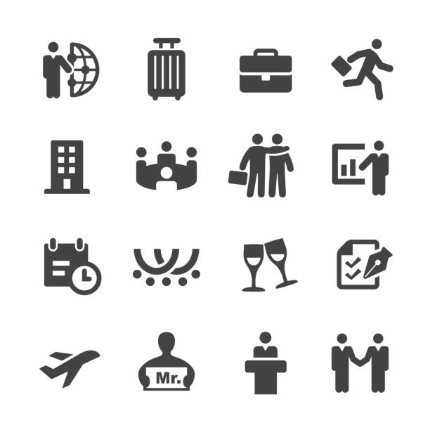 business trip icons - acme series - tourist stock illustrations