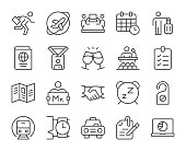 istock Business Trip - Light Line Icons 1186646111