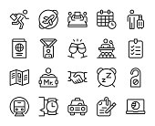 Business Trip Line Icons Vector EPS File.