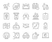 Business Trip Thin Line Icons Vector EPS File.