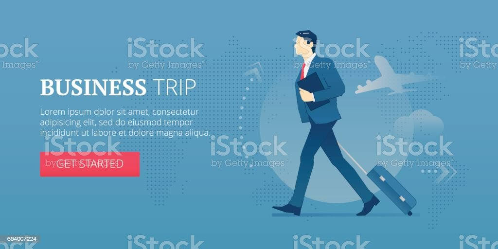 Business trip web banner vector art illustration