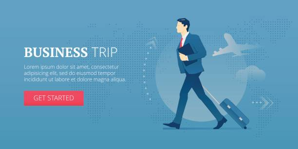 business trip web banner - business travel stock illustrations, clip art, cartoons, & icons
