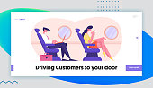 Business Trip Website Landing Page. Businessman Sitting in Comfortable Airplane Seat and Working on Laptop, Woman Drink Beverage. Passengers in Plane Web Page Banner. Cartoon Flat Vector Illustration