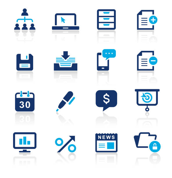 Business Two Color Icons Set An illustration of business two color icons set for your web page, presentation, apps and design products. Vector format can be fully scalable & editable. organization chart stock illustrations