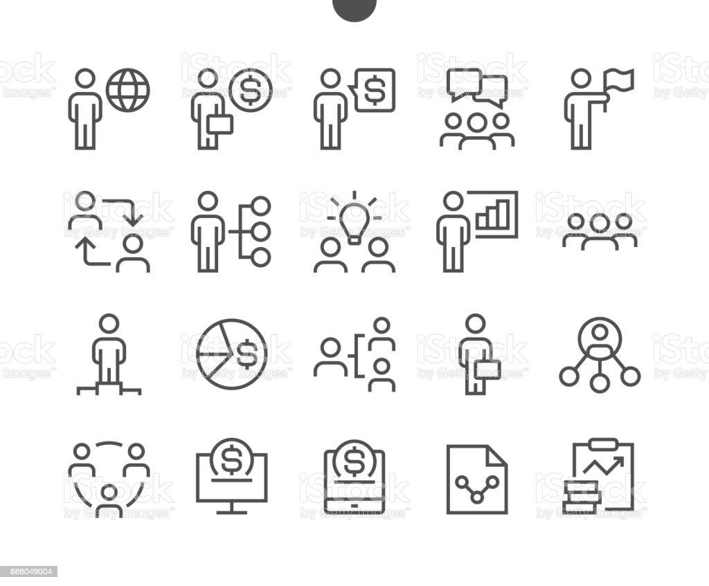 Affaires UI Pixel parfait bien ficelé vecteur ligne mince icônes 48 x 48 prêt pour grille de 24 x 24 pour les graphiques Web et des applications avec AVC modifiable. Simple minime pictogramme - Illustration vectorielle