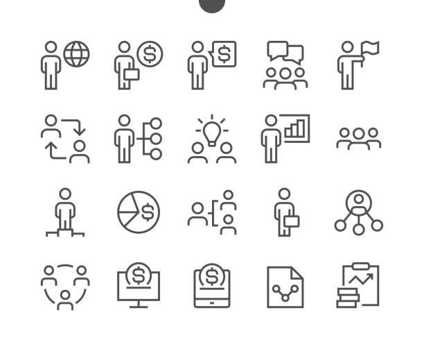 ilustraciones, imágenes clip art, dibujos animados e iconos de stock de negocios ui pixel perfecto vector bien-hecho delgada línea iconos 48 x 48 listo para rejilla de 24 x 24 para gráficos web y aplicaciones con movimiento editable. pictograma mínimo simple - corredor de bolsa