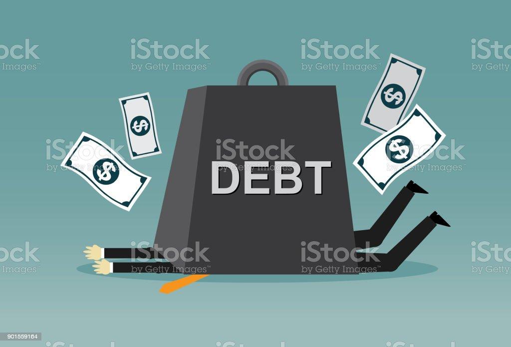 Business under debt burden vector art illustration