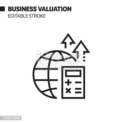 Business Valuation Line Icon, Outline Vector Symbol Illustration. Pixel Perfect, Editable Stroke.