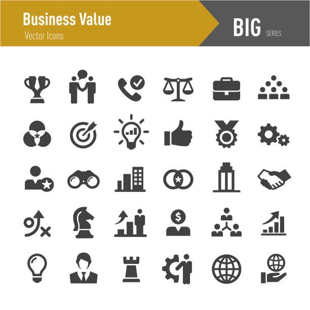 Business Value Icons - Big Series Business, Value, performance, marketing, teamwork, determination stock illustrations