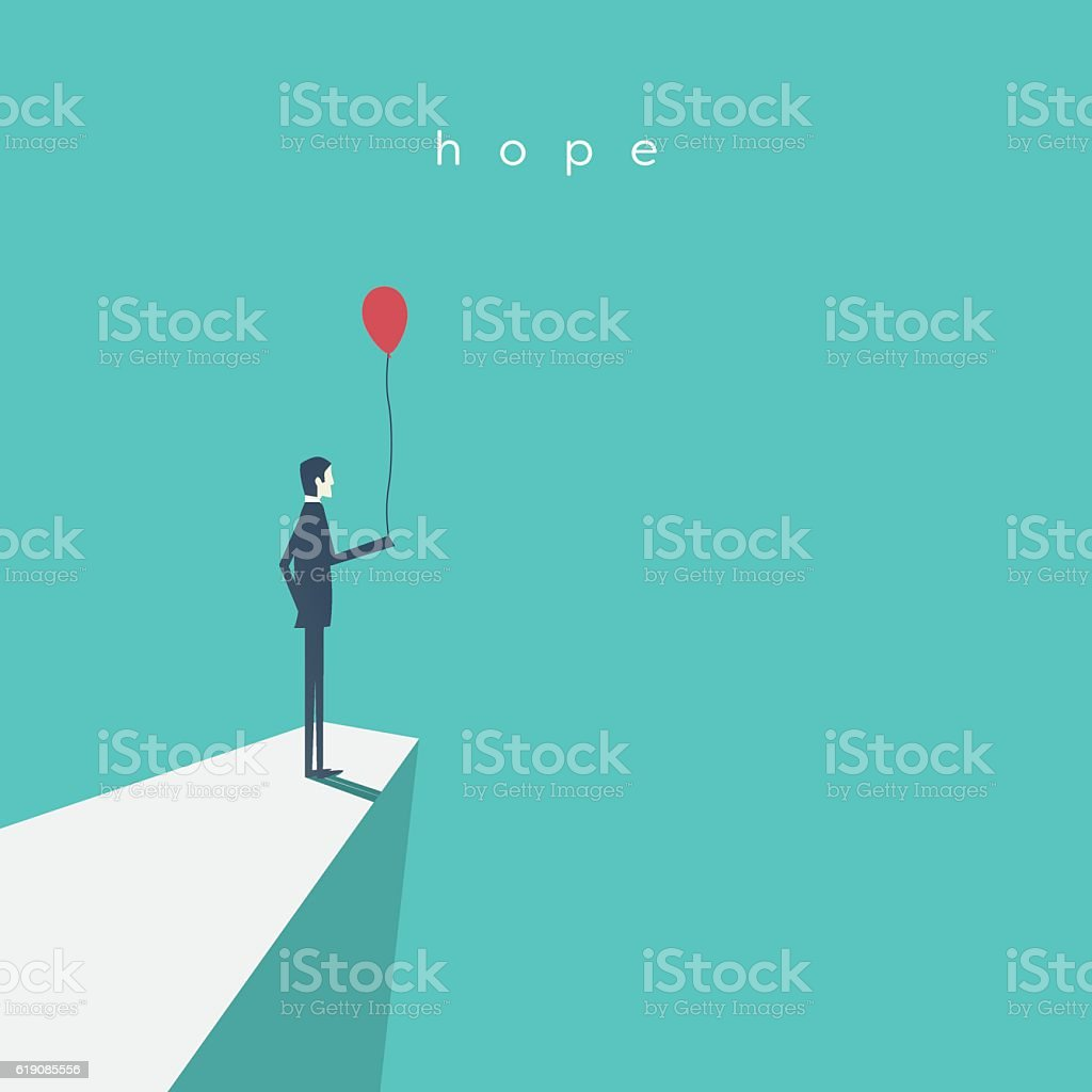 Business vector concept of hope, success, future. Businessman standing with vector art illustration
