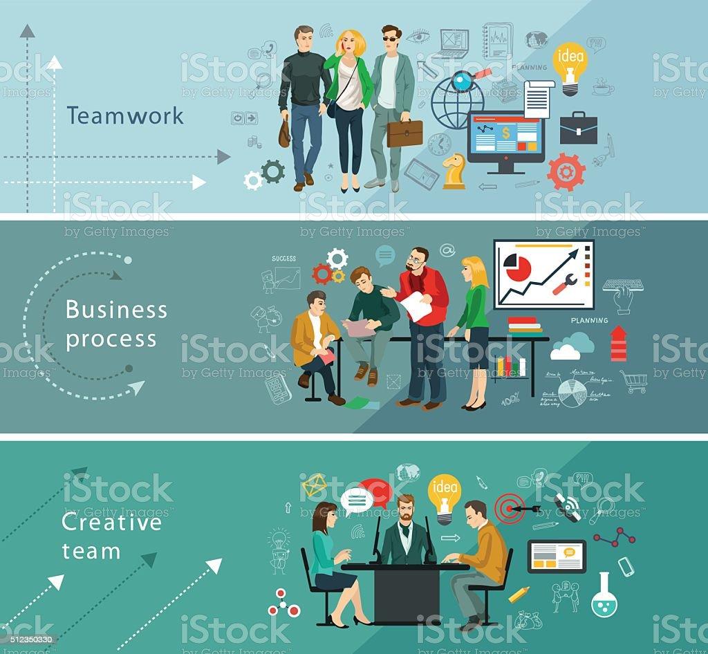 business теам vector art illustration