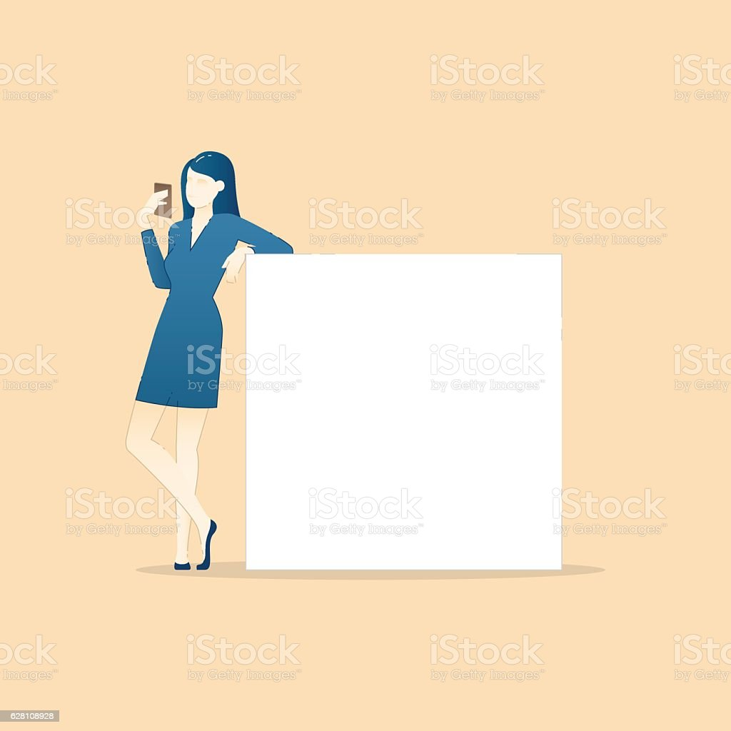 Business vector illustration of business woman leaning on empty banner – Vektorgrafik