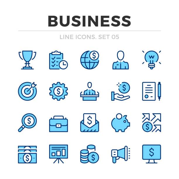 illustrations, cliparts, dessins animés et icônes de les icônes de ligne de vecteur d'affaires sont définies. conception de ligne mince. contour des éléments graphiques, des symboles de traits simples. icônes d'affaires - tirelire