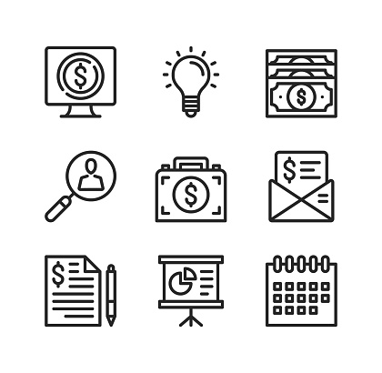 Business vector line icons. Simple outline symbols, modern linear graphic elements collection. Premium quality. Vector thin line icons set