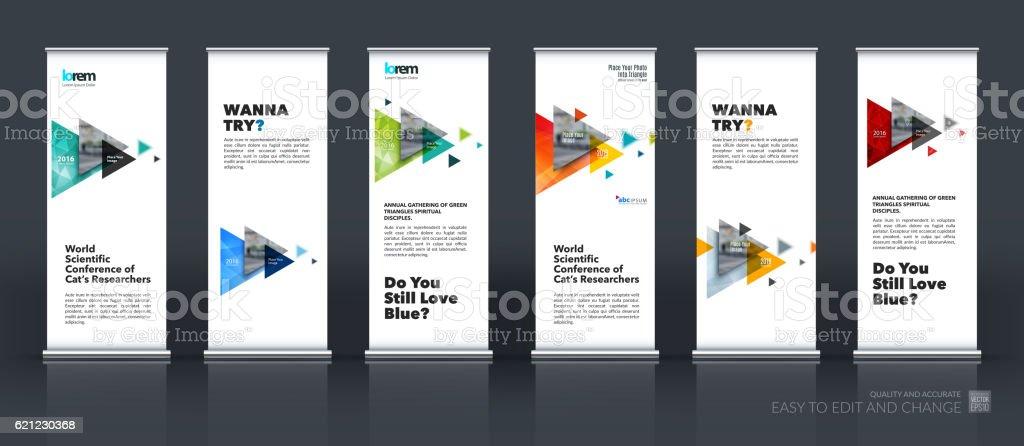 Business vector set of modern roll Up Banner stand design