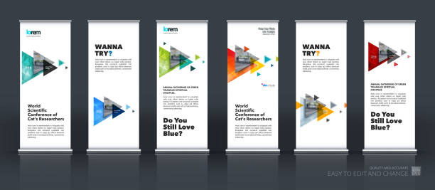 business vector set of modern roll up banner stand design - vertical stock illustrations, clip art, cartoons, & icons