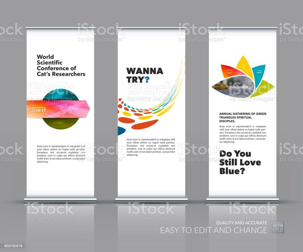 Banner Stand Designs : Business vector set of modern roll up banner stand design