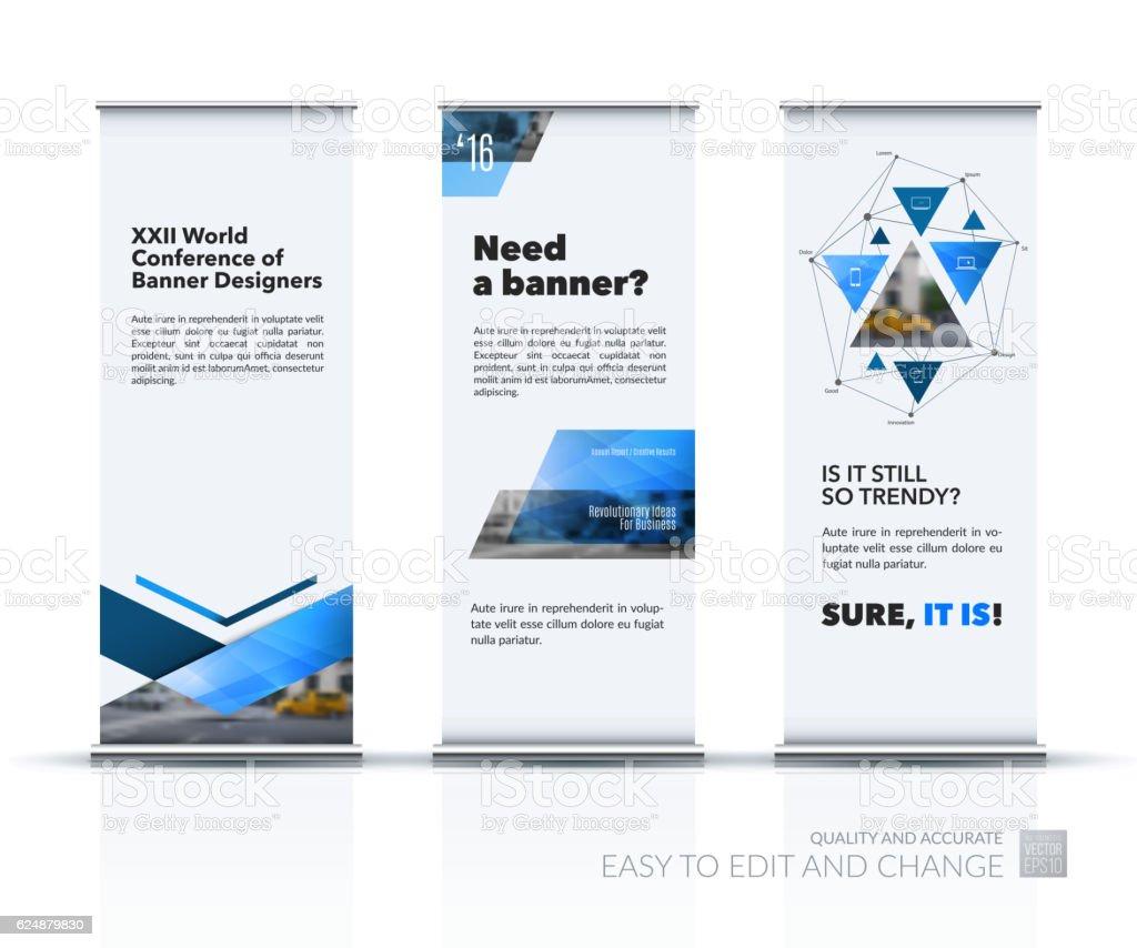 Business vector set of modern roll Up Banner stand design vector art illustration