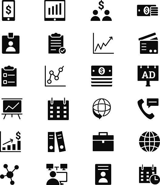 business vektor solide symbole 1 - laptoptaschen stock-grafiken, -clipart, -cartoons und -symbole