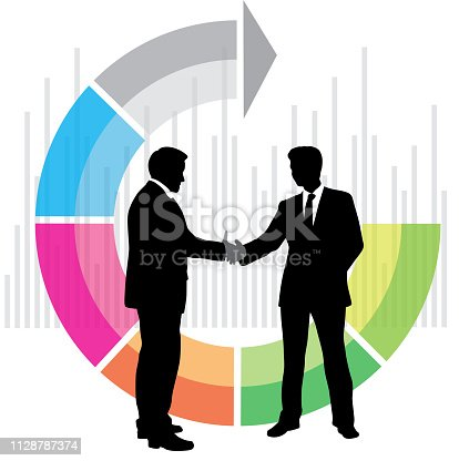 Shaking hands business men with colorful background