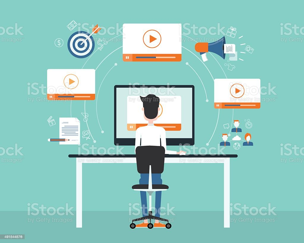 business video marketing content on line concept. vector art illustration