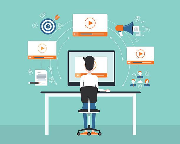 ビジネスの動画マーケティングのコンテンツでオンラインのコンセプトを表現します。 ベクターアートイラスト
