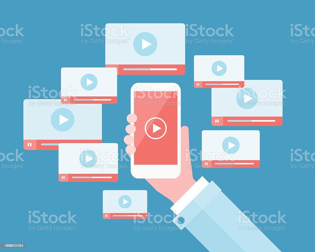 business video marketing content on mobile online vector art illustration