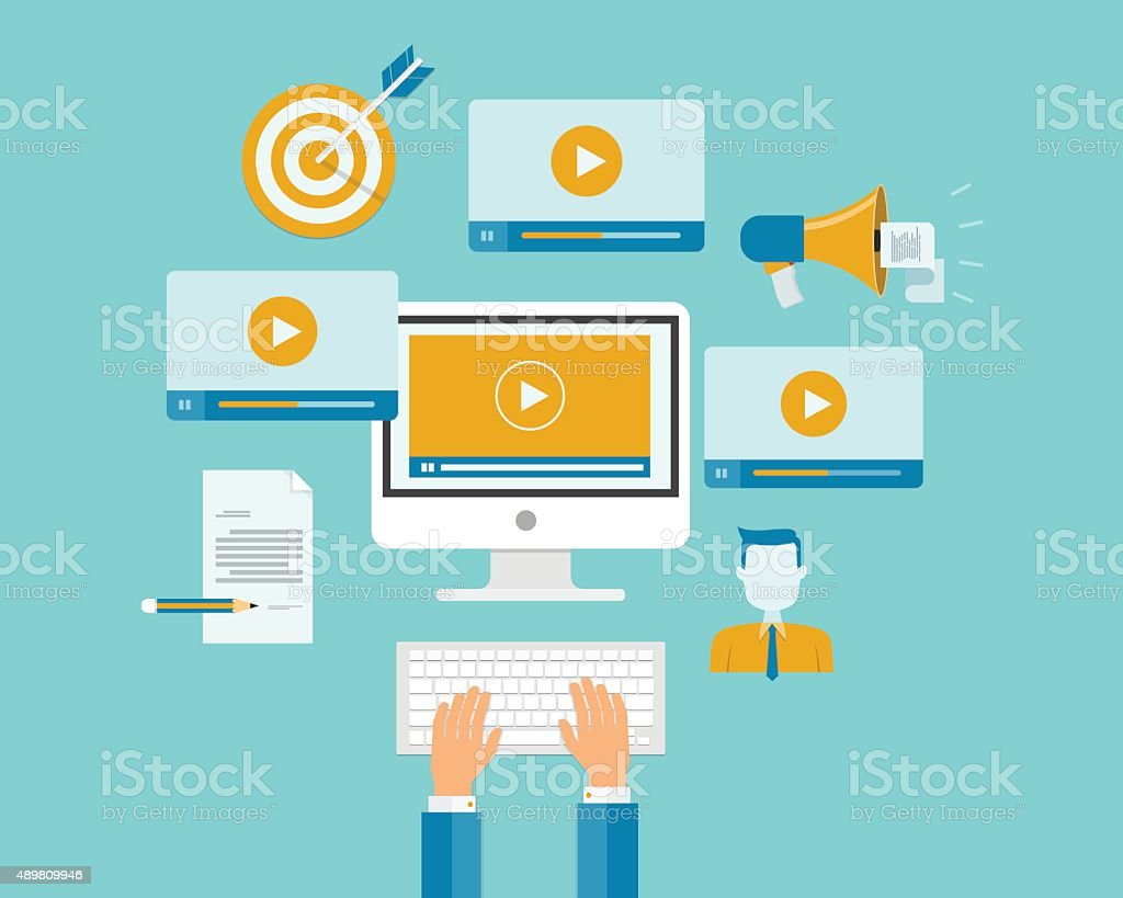 business video marketing content online concept vector art illustration