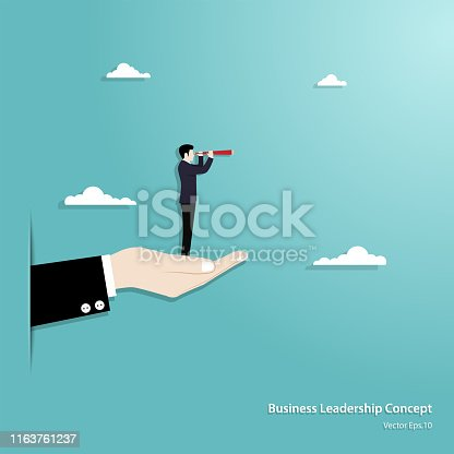 Business vision and target. Businessman honding telescope standing on hand looking to success in career. Concept business, Achievemant, Character, Leader, Vector illustration flat